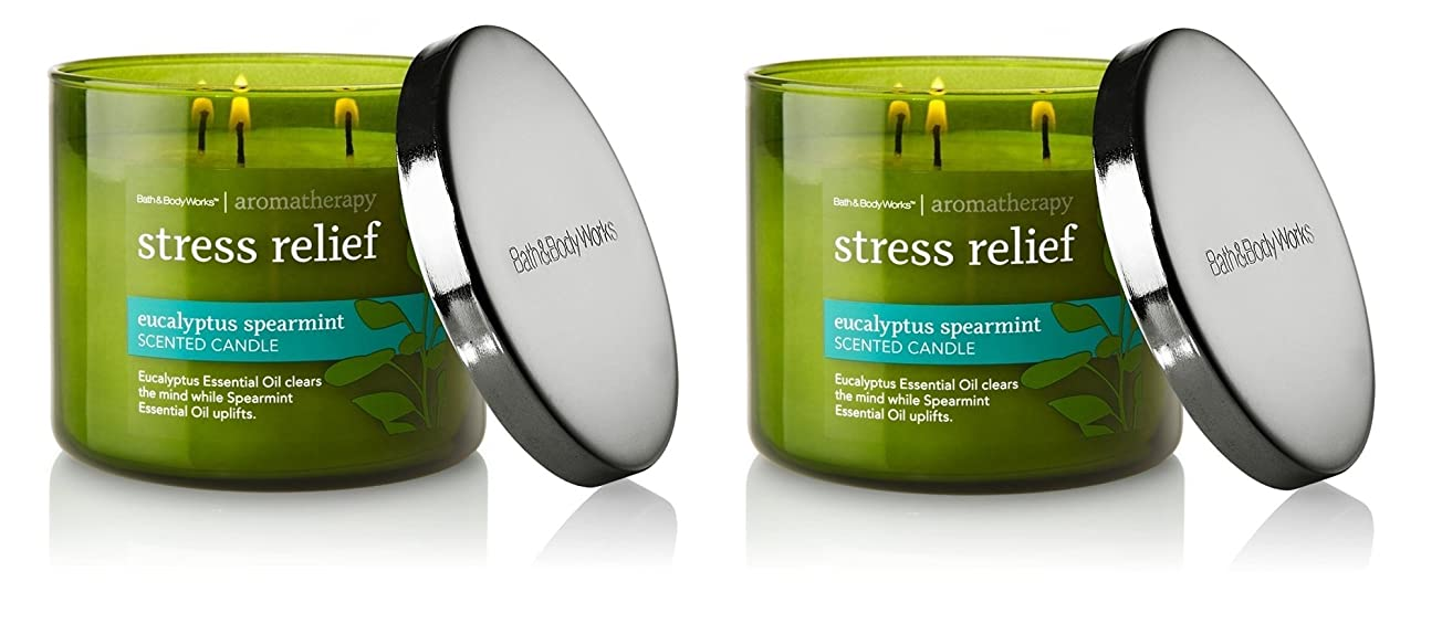 森林元気玉ねぎBath & Body Works , Aromatherapy Stress Relief 3-wick Candle、ユーカリスペアミント 2 Pack (Eucalyptus Spearmint)