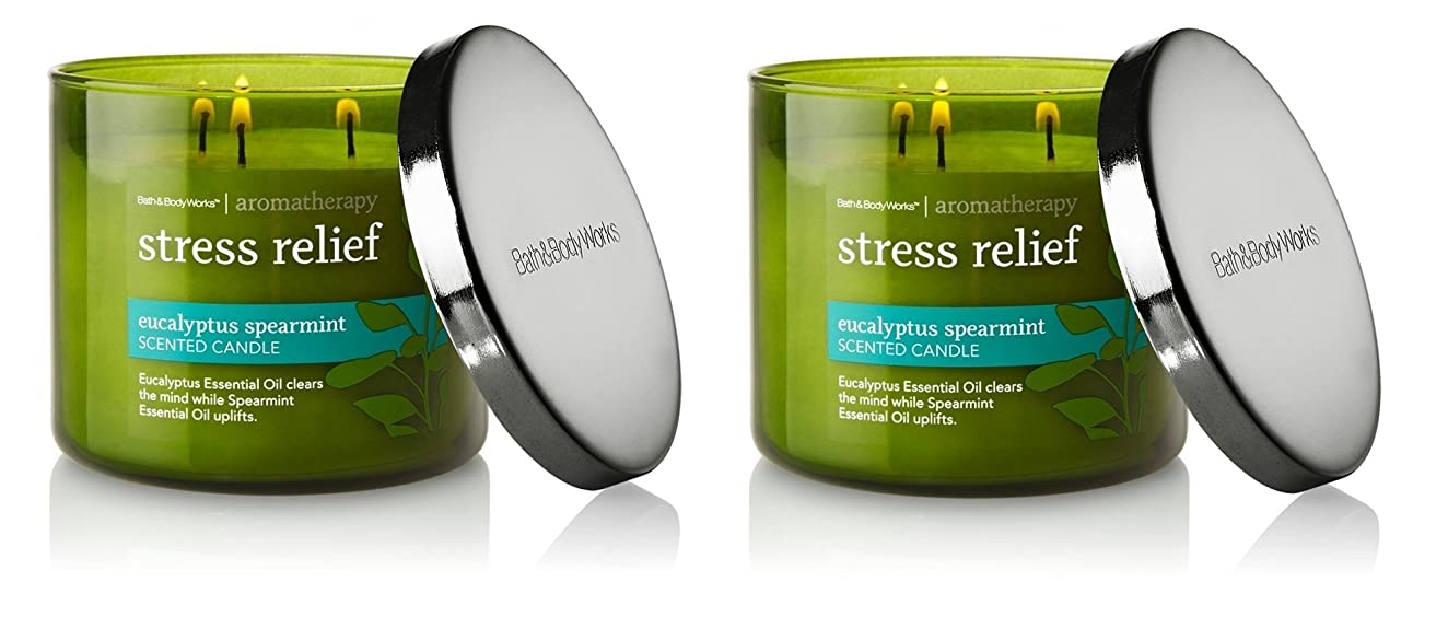 シマウマめ言葉圧倒的Bath & Body Works , Aromatherapy Stress Relief 3-wick Candle、ユーカリスペアミント 2 Pack (Eucalyptus Spearmint)