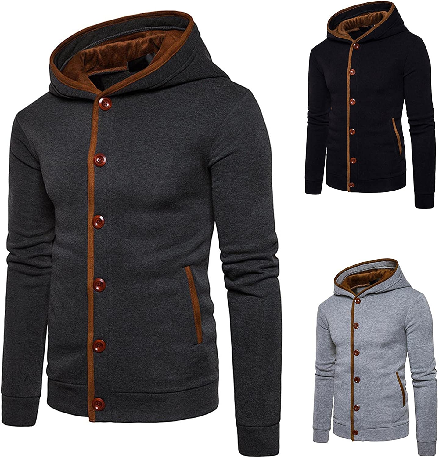 Men button design closed border hooded colorblock cardigan hooded sweater for Men tops
