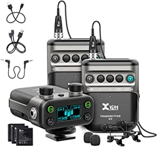 Xvive U5T2 Dual-Channel Wireless Mic for Cameras Wireless Lavalier Microphone System 2.4Ghz 1 Receiver, 2 Transmitters + 2...