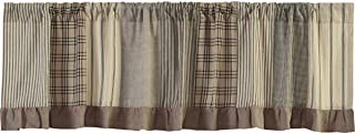 VHC Brands Farmhouse Kitchen Window Curtains-Sawyer Mill Patchwork Valance, 19x72, Charcoal Grey