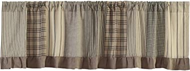 VHC Brands Farmhouse Kitchen Window Sawyer Mill Patchwork Curtain, Valance 19x72, Charcoal Grey
