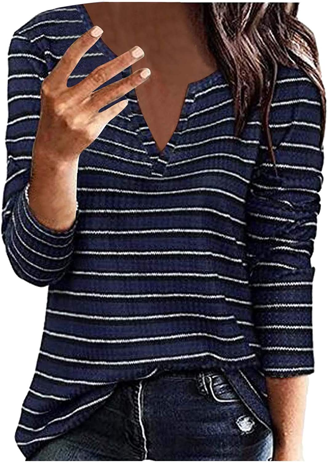 FUNEY Womens Sexy Striped Special price Waffle V T Tops Sleev Neck Long Quality inspection Shirts