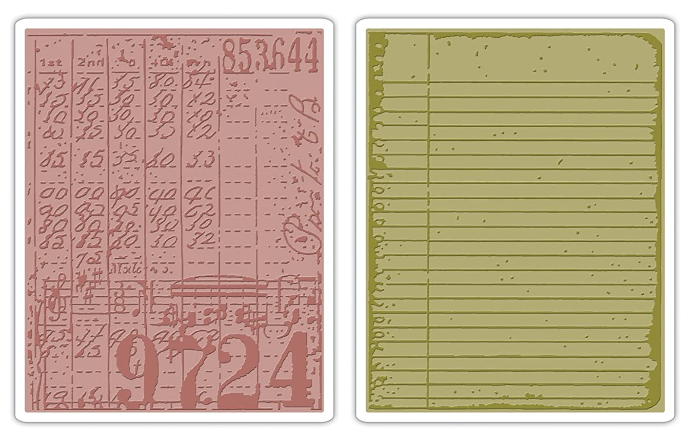 Sizzix 656647 Texture Fades Embossing Folders, Collage & Notebook Set by Tim Holtz, Pack of 2, Multicolor vjiywtbvojk843
