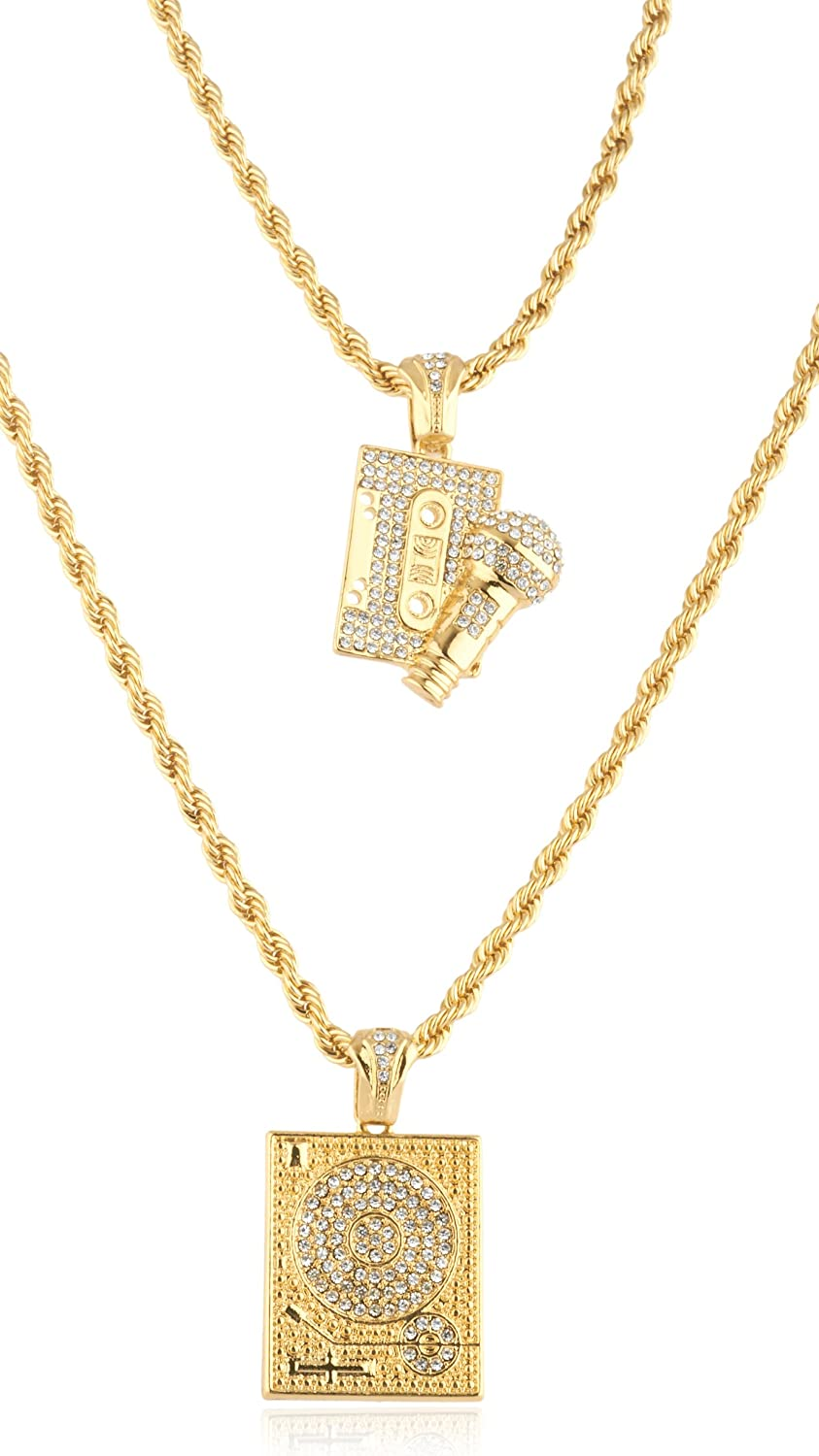Men's Double Layered Necklace with Iced Out Music Themed Pendants (C-1317)