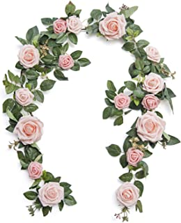Ling's moment Handcrafted 5ft Blush Pink Rose Floral Greenery Garland for Wedding Party Table Decorations Arch Florals