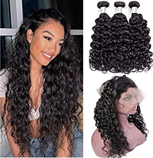 Peruvian Virgin Water Wave Hair Weave 3 Bundles with 360 Lace Frontal Closure Pre Plucked Hairline Unprocessed Virgin Hair Afro Kinky Curly Hair Bundles with Closure Wet and Wavy Human Hair Extensions