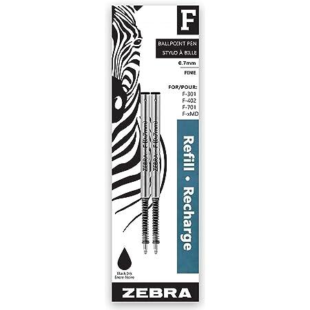 Lot of 2 Zebra Steel F-Refills Black 0.7mm Fine for F-301 /& F-701 NEW FREE SHIP