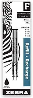 F-Refill, Espiral Esferográfica, Fina, Preta, Pacote com 2