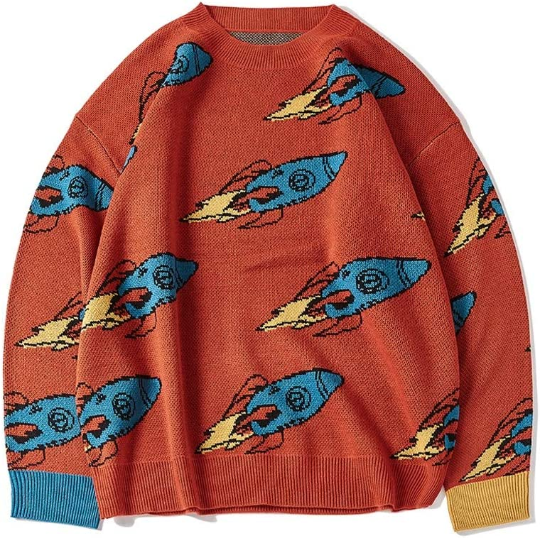 TWDYC Sweater Men Funny O-Neck Oversize Pullover Streetwear Autumn New Man Women Sweaters (Color : Red, Size : M-length-69CM)