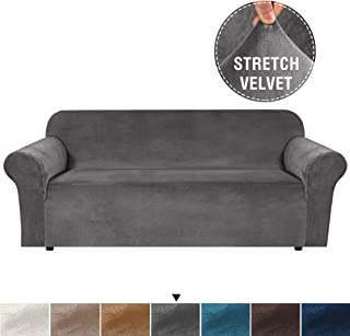 Luxurious Real Velvet High Stretch Sofa Cover/Slipcover Soft Spandex Form Fit Slip Resistant Stylish Furniture Cover Couch Covers Slip Covers Machine Wash, Sofa 3 Seater, Large Size, Grey
