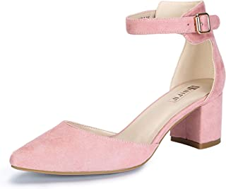 ffb06ca78c IDIFU Women's IN2 Pedazo-C Mid Chunky Heels Closed Pointed Toe Ankle Strap  D'