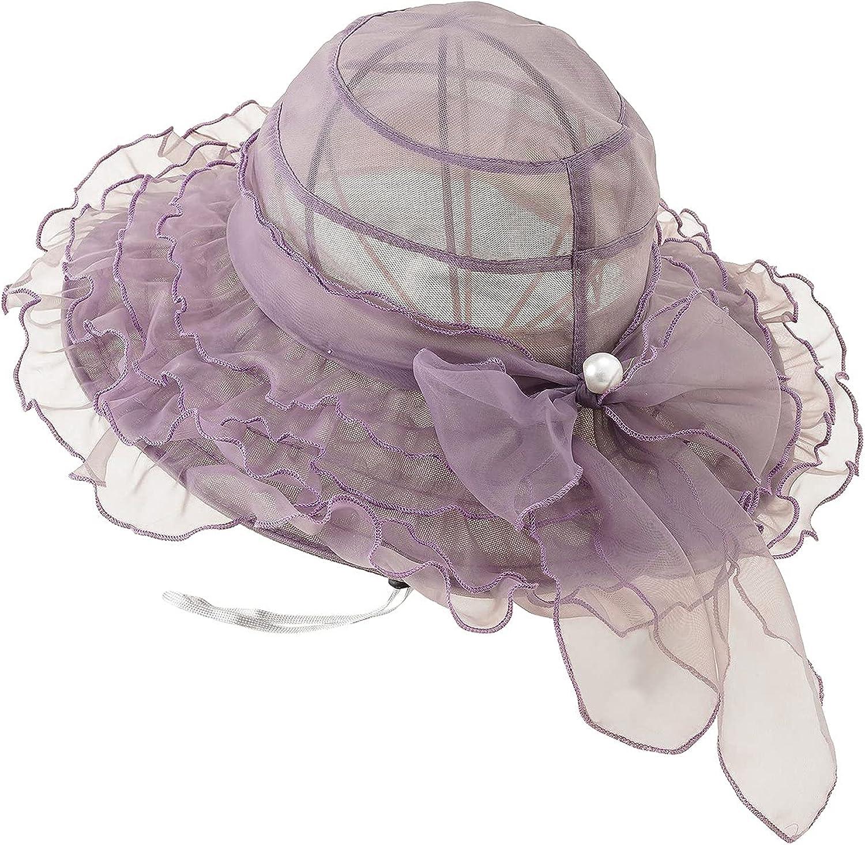 Summer Women's Pearl Ruffled Big Bow Organza Church Party Kentucky Derby Dress Tea Party Wedding Beach Hat