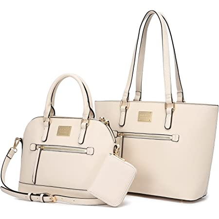 LOVEVOOK Handtasche Damen Schultertasche Handtaschen Tragetasche Damen Groß Designer Elegant Umhängetasche Henkeltasche Set 3-teiliges Set (3pcs Set, E-beige)