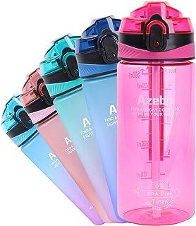 Azebo 32/26/16oz Große Wasserflasche mit Zeitmarkierung und herausnehmbarem Sieb Tritan BPA-frei ungiftig 1000ml/750ml/500...