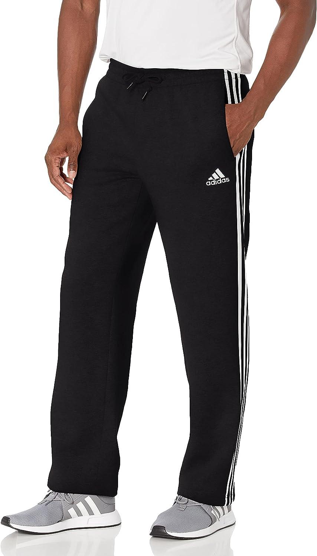adidas Men's Essentials Fleece Open Hem 3-Stripes Pants : Sports & Outdoors