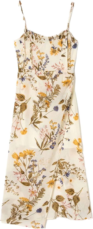 Sexy Side Split Vintage Tube Top Midi Dress Chic Yellow Floral Print Adjust Spaghetti Strap Dress