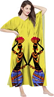 RADANYA Womens Cotton Kaftan Dress Tunic Long Maxi Kimono Caftan