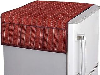 Kuber Industries Lining Design Jute Fridge/Refrigerator Top Cover (Maroon) -CTKTC032718, Standard