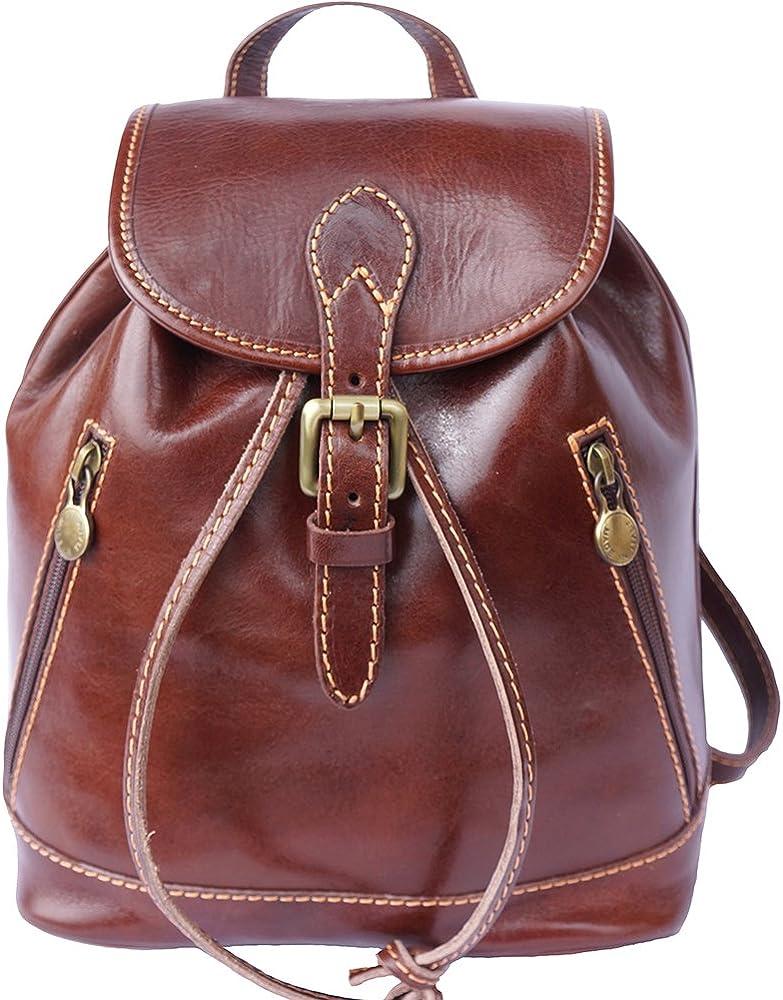 Florence leather market luminosa, zaino per donna, in vera pelle di vitello, marrone backpacks 6559A