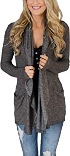 PRETTODAY Women's Long Sleeve Loose Cardigans Basic Drape Front Open Kimono Tops with Pockets