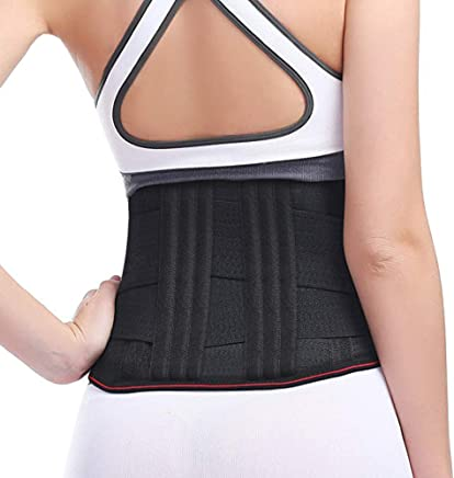 Elove Lower Back Brace Support/Lumbar Support Waist belt for Back Pain Relief-Compression Belt with dual Adjustable Straps for Men and Women/Back Braces (Medium (M))