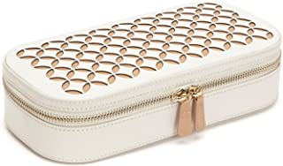WOLF Chloé Zip Jewelry Case, 4.5x9.25x2.25, Cream