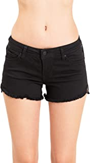 Women's Juniors Low-Rise Frayed Hem Side Notch Shorts