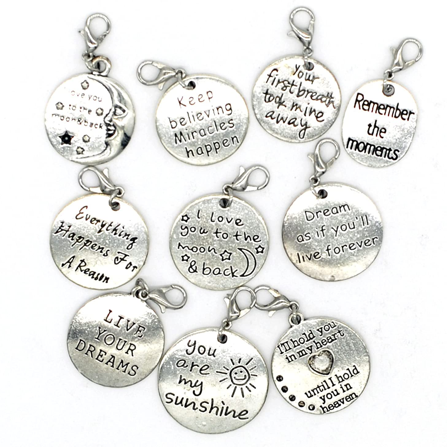 10PCS 10 Words Antique Silver Clip-on Charms Collection, Vintage Jewelry Supply Lot, Wholesale C36