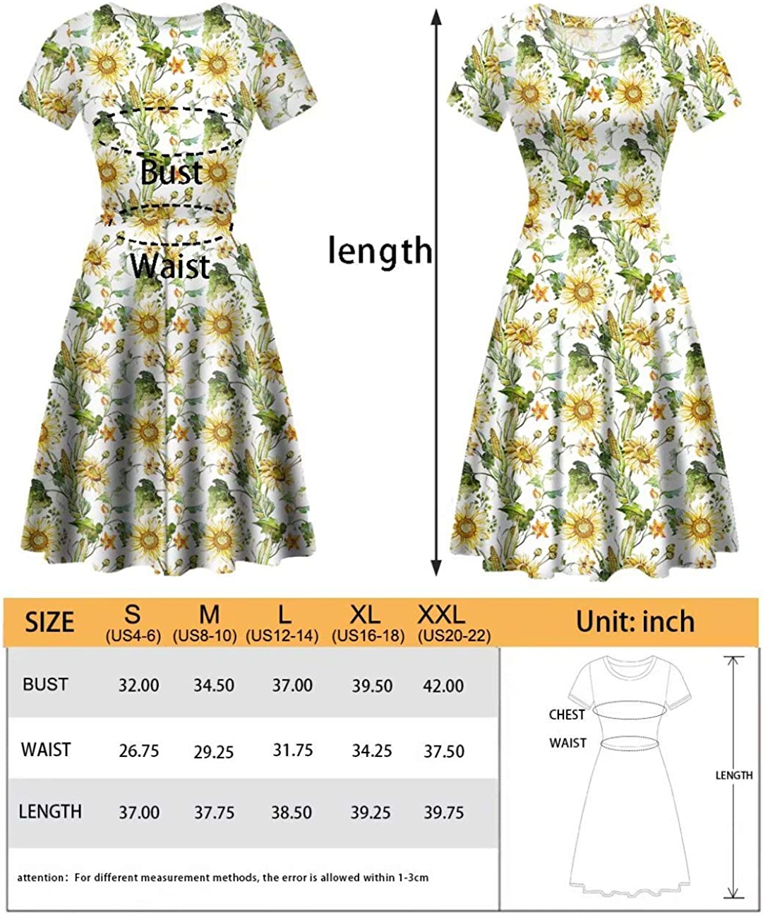 Deeprinter Bohemian Women Dresses for Party Prom Swing Cocktail Dress Round Neck