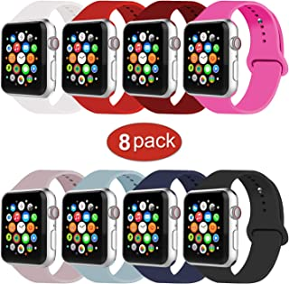 IYOU Sport Band Compatible with Watch Band 38MM 42MM 40MM 44MM, Soft Silicone Replacement Sport Strap Compatible with 2018 Watch Series 4/3/2/1(Pack of 8,42mm M/L)