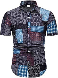 CuteRose Mens Short-Sleeve Casual Loose Hawaii Flyaway Printed Dress Shirts