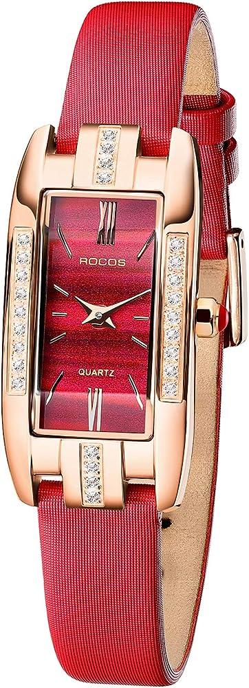 Rocos,orologio per donna,cassa acciaio inossidabile,cinturino in pelle,lunetta con cristalli R0209S