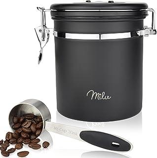 Milu lufttät kaffebehållare Kaffekanna | 500g, 700g | kaffeburk rostfritt stå med skopa, skopa förvaringsburk kaffebönor v...