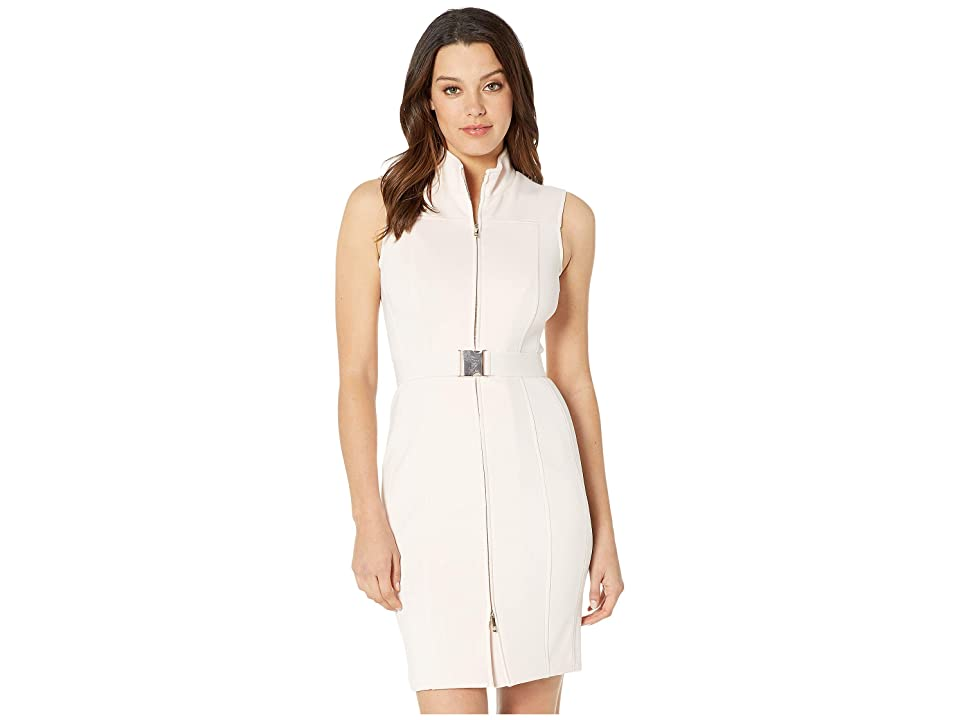 Tommy Hilfiger Scuba Front Zip Sheath Dress (Powder) Women