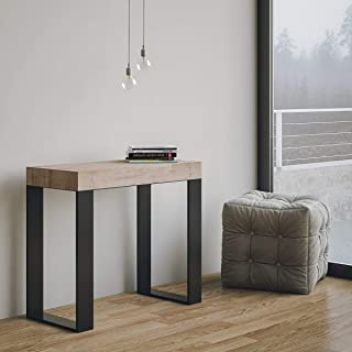 Itamoby Consola extensible Tecno Small Roble & Antracita Madera L.90 x H.77 x P.40 (extensible a 196 cm)