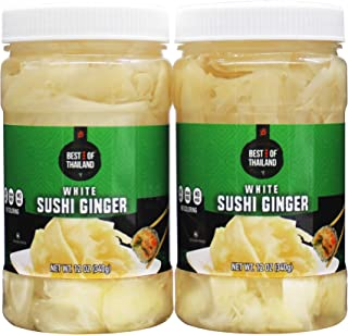 Pickled Sushi Ginger - 2 Jars of 12-oz - Japanese White No Coloring Pickled Gari Sushi Ginger Kosher, Fat Free, Sugar Free, No MSG - By Best of Thailand.