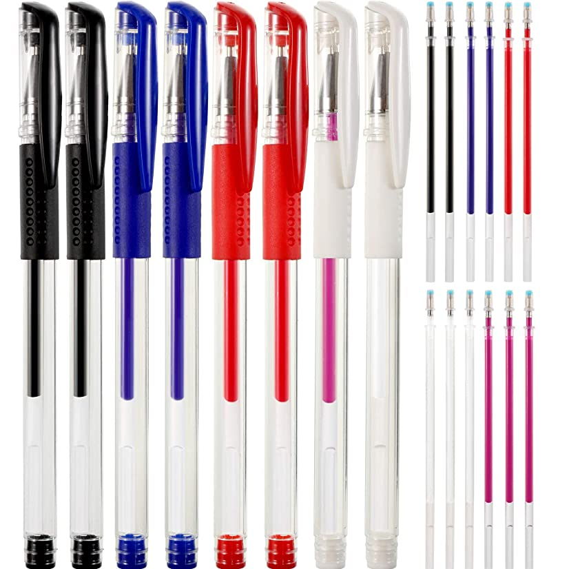 Zhehao 8 Pieces Heat Erase Pens with 12 Heat Erasable Fabric Refills Marking for Sewing, Quilting and Dressmaking, 5 Colors
