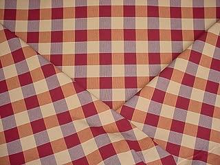 red plaid silk fabric