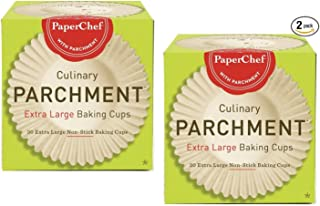 PaperChef 05027 (2 Pack) Extra Large Paper Cupcake Liners/Baking Cups, 30-ct/Box, Оne Расk, Tan