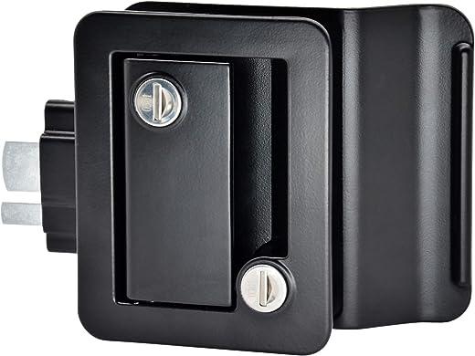 YOMILINK Upgraded Trailer Door Latch, RV Door Lock with Paddle Deadbolt, Black Camper Door Latch with 4 Keys, Zinc Alloy Metal RV Door Latch Replacement Kit for Camper Horse Trailer Cargo Hauler