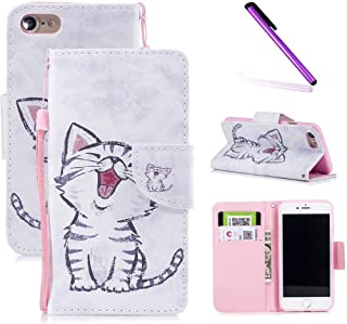 iPhone 6s Case,iPhone 6 Case,LEECOCO Fancy Print Floral Wallet Case with Card / Cash Slots [Kickstand] PU Leather Folio Flip Protective Case Cover for iPhone 6 / 6S (4.7 Inch) Smile Cat