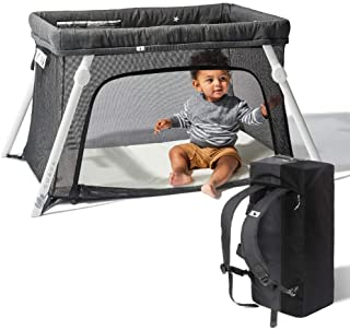 Lotus Travel Crib - Backpack Portable, Lightweight, Easy to Pack Play-Yard with Comfortable Mattress - Certified Baby Safe