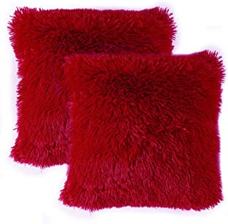 MIULEE Pack of 2 Luxury Faux Fur Christmas Throw Pillow Cover Deluxe Decorative Plush Pillow Case Cushion Cover Shell for Sofa Bedroom Car 18 x 18 Inch Red