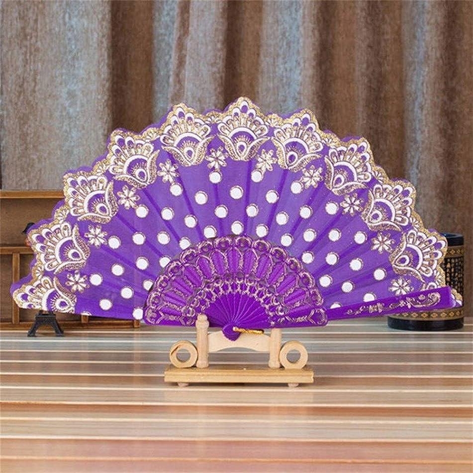 あまりにもバックアップ聞きますドライフラワー 装飾的なファン中国/スペインスタイルのダンス結婚式パーティーレースのシルク折りたたみハンドヘルド花のファンのギフトカラフルなドロップシッピング の写真の小道具の装飾本当に新鮮な乾燥した花 (Color : Purple)