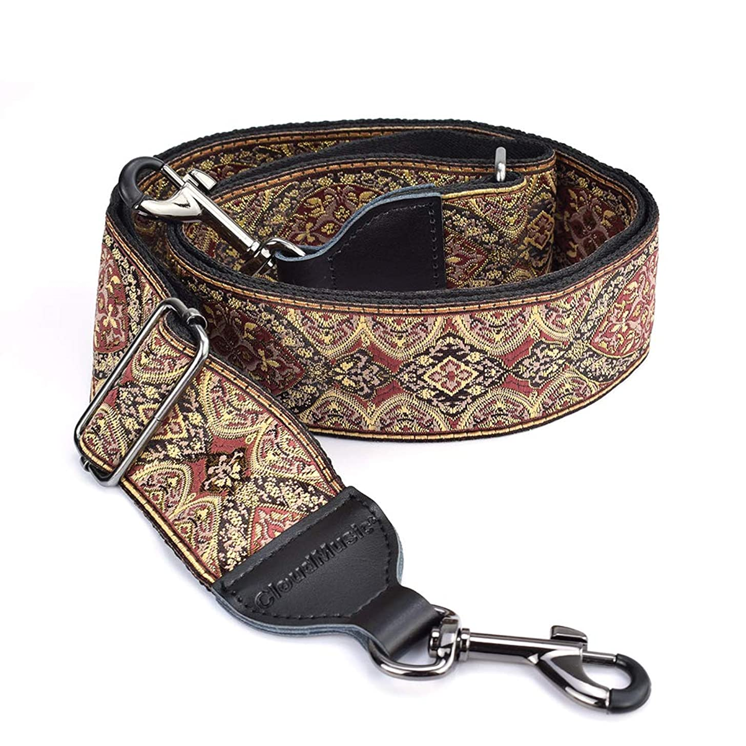 CLOUDMUSIC Banjo Strap Guitar Strap For Handbag Purse Jacquard Woven With Leather Ends And Metal Clips(Vintage Brown)