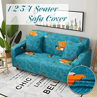 Sofa Cover - Little Fox Sofa Cover Spandex Elastic Polyester Floral 1 2 3 4 Seater Couch Slipcover Chair Living - Mexican Turquoise Gray Extra Gold Sectional Grips European Hold Piece Bot