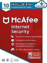 McAfee Internet Security 2021, 10 Dispositivos, 1 Año, Software Antivirus, Manager de Contraseñas, Seguridad Móvil, PC/Mac...
