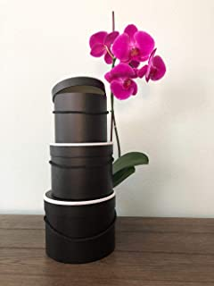 [USA-SALES] Premium Quality Round Flower Box, Gift Boxes for Luxury Flower and Gift Arrangements, Home Decor, Set of 3 pcs, with Lids, Size (S/M/L) (Black with White Rim)