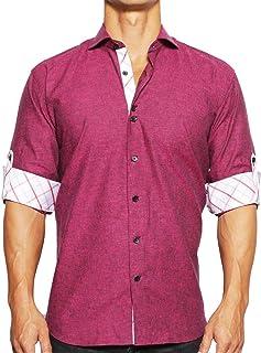 Mens Designer Dress Shirt LS - Stylish & Trendy -...